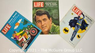 (3) Volumes of LIFE magazine including 3/11/66 Batman Adam West Cover, 8/14/70 Summer Nomads and 2/16/62 Rock Hudson