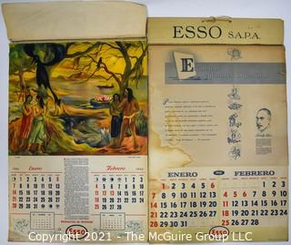 Two (2) Vintage ESSO SAPPA Gasoline Advertising Calendars Featuring Regional Artists of Argentina for 1945 & 1951.