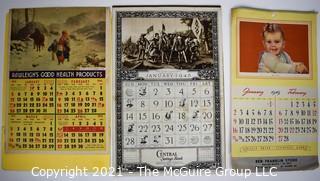 Three (3) Vintage Pin Up 1941, 1945 & 1949 Advertising Wall Calendars for Washington Permanent Building Association