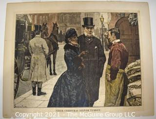 """Color Lithograph of Their Christmas Dinner by King.  Measures 9.5"""" x 7.5""""."""