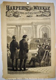 Front Page from Harpers Weekly March 14, 1868 -Impeachment - Thaddeus Stevens and John A. Bingham before the Senate, Sketched by Theodore R. Davis.