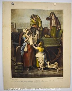"""Unframed Hand Colored Engraving Francis Wheatley From the Series 'The Cries of London': """"Fresh Gathered Peas"""" 1795.  Measures 14"""" x 18""""."""