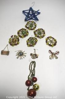 Vintage Mercury Glass Beaded Christmas Ornaments and Tree Topper Star
