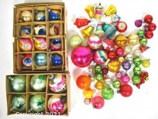 Vintage Hand Painted Mercury Glass Christmas Ornaments with Indents.