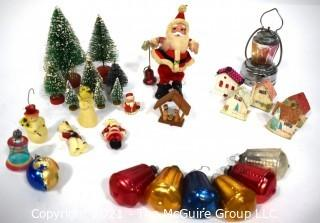 Collection of Vintage Christmas Decoations Including Bottle Brush Trees, Wax Ornaments, Lantern and Glass Ornaments Made in Poland.