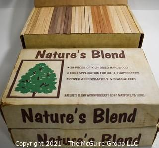 """Three (3) New in Boxes Vintage Nature's Blend Mixed Kiln Dried Hard Wood Planks for Wall Covering.  Each piece measures 3/8 x 2 1/4 x 7 1/2"""".  Oak Cherry, Walnut and Oak"""