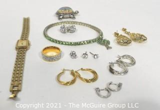 Group of Costume Jewelry and Seiko Watch, Untested.