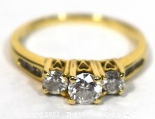 Yellow 14 Kt Gold Three Stone Diamond Engagement Ring.
