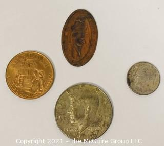 (4) Coins including 1967 Kennedy Half Dollar, 1964 Silver Dime, Apollo 11 Commemorative and Will Rogers Humorist Squashed Penny.