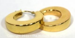 Pair of 14 kt Gold Thick Hollow Hoop Earrings. Weighs 2.6 g