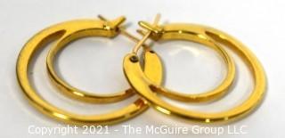 Pair of 10 kt Gold Double Hoop Pierced Earrings. Weighs 2.5 g
