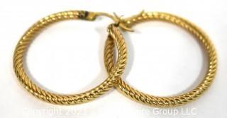 Pair of 14 kt Gold Hoop Pierced Earrings.  Weighs 3.5 g