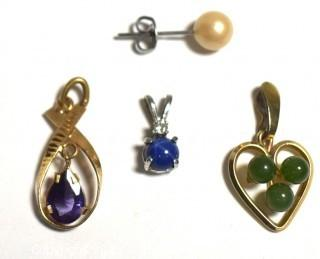 Two (2) 14 kt Yellow Gold Pendants with Jade and Amethyst, One (1) Sterling Pendant with Blue Star Sapphire and One (1) Single Pearl Earring.