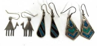 Three (3) Sterling Silver Dangle Earrings, Two with Turquoise.