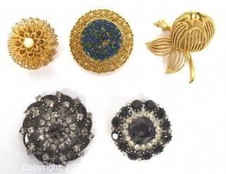 Five (5) Vintage Rhinestone Brooches, Two with Maker Marks Including Karu Arke and Made in Austria.