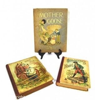 Three (3) Vintage Children's Books Including Mother Goose, Great Big Story Book and Gulliver's Travels.