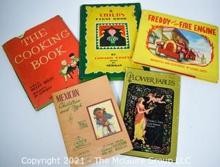 Five (5) Vintage Children's Books Including A Child's First Book, Freddy the Fire Engine, & Flower Fables.