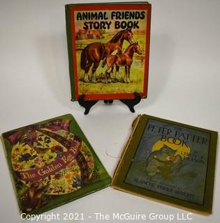 Three (3) Vintage Children's Books Including Animal Friends Story Book, Peter Patter Book, The Golden Egg Book.