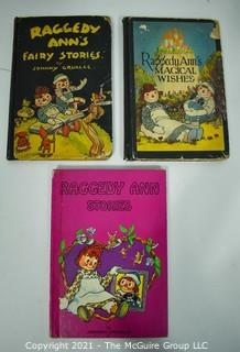 Three (3) Vintage Editions of Raggedy Ann Stories by Johnny Gruelle
