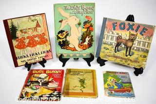 Group of Vintage Children's Books Including Flicka Ricka Dicka, Foxie & White Young Bunny with His Magic Nose,