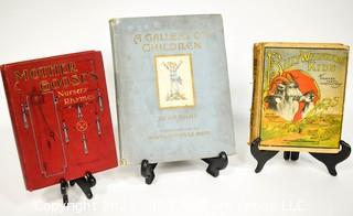 Three (3) Antique Children's Books Includes Mother Goose, A Gallery of Children by AA Milne and Billy Whiskers Kids by Frances Montgomery.