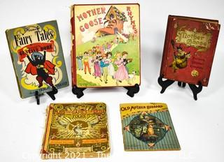 Five Antique Children's Books Including Mother Goose, Old Mother Hubbard, Plays and Games for Little Folks, French Fairy Tales by Gustave Dore and Charles Perrault.