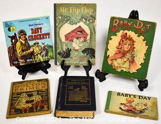 Six (6) Vintage Children's Books Including Walt Disney's Davy Crocket, Baby Pet, & Mr. Flip Flop.
