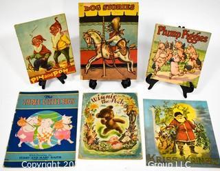 Six (6) Vintage Children's Books Including Pim & Pom, Dog Stories, Plump Piggies,Three Little Pigs, Winnie The Pooh, Kris Kringle