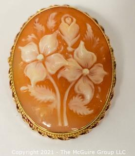 Vintage Carved Flower Cameo Brooch and Pendant in 14 kt Gold Surround