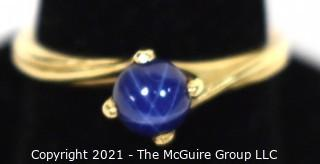 14kt Yellow Gold with Blue Star Sapphire Ring.  Weighs 2.4 g.