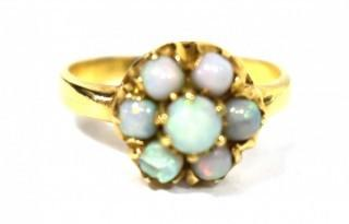 Vintage Gold Baden & Foss (B&F) Ring with Cluster of Round Opals.