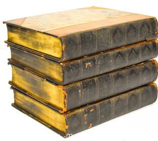 Four (4) Antique Volumes of The Complete Works of Ralph Waldo Emerson, The Riverside Press, 1888 with Leather Spines and Marbled Covers.