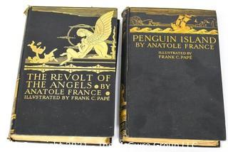 Two (2) Vintage Books by Anatole France - Penguin Island & The Revolt of the Angels, both illustrated by Frank C. Pape