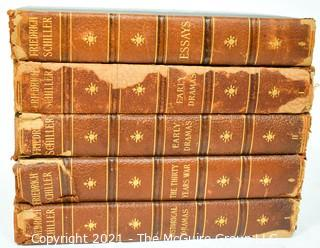 Seven Volume (7) Leather Bound with Marbled Covers of The Complete Works of Friedrich Schiller 1902