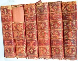 Six (6) Volume Leather Bound Set of The Works Of Tobias Smollett By Smollett, Tobias, 1902.