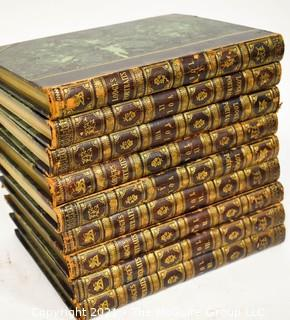 Nine (9) Leather with Gilt Decoration and Marbled Covered Volumes of Portraits Of Illustrious Personages Of Great Britain: Engraved From Authentic Pictures, With Biographical & Historical Memoirs Of Their Lives by Edmund Lodge.
