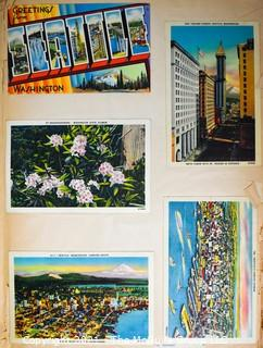 (19) Photo Postcards and (83) Vintage Commercial Postcards; mounted on scrapbook pages