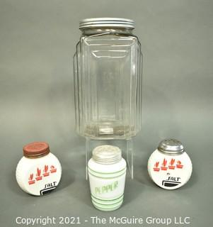 Three (3) Milk Glass Spice Jars and One (1) Clear Glass Canister.