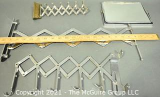 Three (3) Scissor Accordion Wall Mount Items Including Mirror, Clothing and Accessory Hooks.