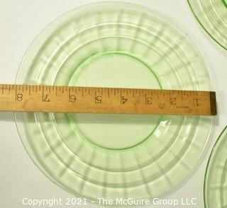 "Set of Five (5) Green Uranium Vaseline Depression Glass Salad Plates.  Each measures 8"" in diameter."