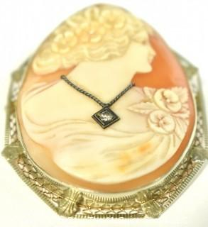 Vintage Pink Shell Cameo Brooch and Pendant with Diamond Accent in 14kt White Gold Surround; total weight 13g