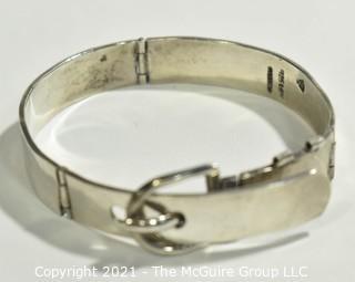 Vintage Mexican Sterling Silver Buckle Hinged Bangle Bracelet; 41g