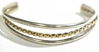 Three Band Sterling Silver with Gold Filled Twist Cuff Bracelet; total weight 17g