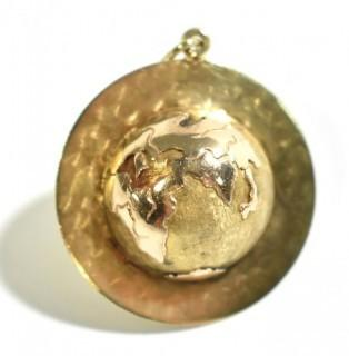 """14k Yellow Gold """"Around the World with You"""" Globe Pendant or Charm.  Weighs 10.2g"""