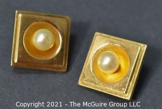 14kt Yellow Gold Square Earrings with Inset Raised Pearls and Omega Hinged Back. Weighs 8.9 g.