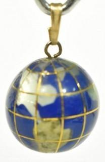 Vintage Lapis and 18 Karat Yellow Gold Globe Charm or Pendant.  Weights 7g
