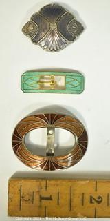 Three (3) Antique Art Deco Brass & Enamel Guilloche Buckles.