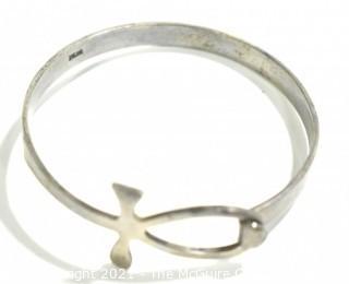 Vintage Egyptian Ankh Sterling Silver Bangle Bracelet; 18g