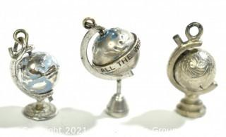 Three (3) Vintage Sterling Silver Articulated Globes on Stand Charm or Pendants. 10g total weight