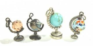 Four (4) Vintage Sterling Silver Articulated Stone and Glass Globes on Stands, Charms or Pendants.